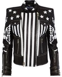 Balmain - American Flag Leather Jacket - Lyst