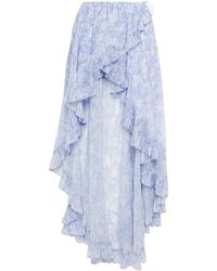 Caroline Constas Adelle Asymmetric Ruffled Floral-print Chiffon Skirt Light Blue