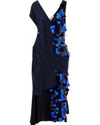 Diane von Furstenberg Draped Satin And Sequined Silk-chiffon Midi Dress Midnight Blue