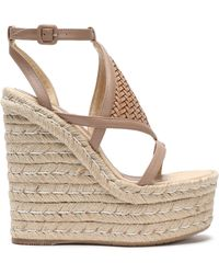 Paloma Barceló - Woven-paneled Leather Wedge Espadrille Sandals - Lyst