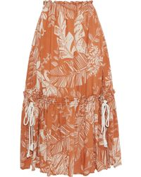 See By Chloé See By Chloé Gathered Printed Cotton-blend Gauze Midi Skirt Brown