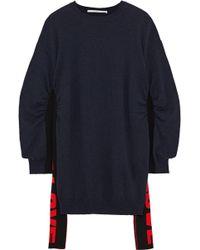 Stella McCartney Ruched Intarsia Wool Sweater Navy - Blue