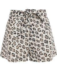 Joie Leopard-print Linen-canvas Shorts Animal Print - Multicolour