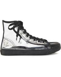 Maison Margiela Tabi Leather-trimmed Pvc Split-toe Trainers - Black