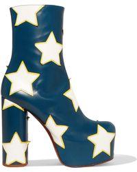 Vetements - Appliquéd Leather Platform Ankle Boots - Lyst