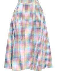 Saloni Naomi B Pleated Gingham Seersucker Midi Skirt - Blue