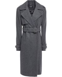 DKNY Belted Brushed Wool-blend Trench Coat Charcoal - Gray