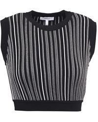 CASASOLA Eugenia Cropped Striped Jacquard-knit Top - Black