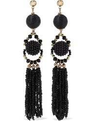 Iris & Ink Margrethe 18-karat Gold-plated Sterling Silver Bead And Cord Earrings Black
