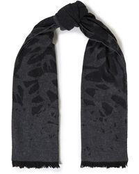 McQ Frayed Wool-blend Jacquard Scarf Charcoal - Grey