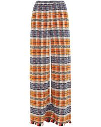 M Missoni - Striped Cotton-blend Wide-leg Pants - Lyst