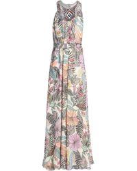Matthew Williamson - Embellished Floral-print Silk-chiffon Halterneck Gown Pastel Pink - Lyst