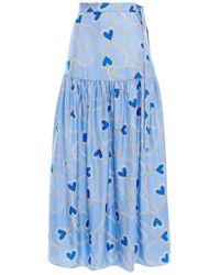 Chinti & Parker Gathered Printed Silk-twill Maxi Skirt Light Blue