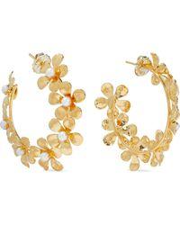 Bounkit 14-karat Gold-plated Pearl Hoop Earrings Gold - Metallic
