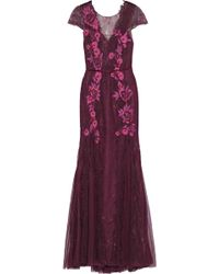 Marchesa notte Tulle-paneled Embellished Chantilly Lace Gown Plum - Purple