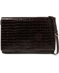 JOSEPH Croc-effect Leather Shoulder Bag - Brown