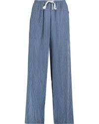 DKNY - Striped Woven Straight-leg Trousers - Lyst