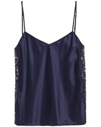I.D Sarrieri Lace-trimmed Silk-satin Camisole - Blue