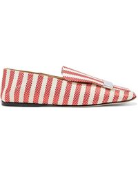 Sergio Rossi Sr1 Portofino Embellished Striped Canvas Collapsible-heel Loafers - Red