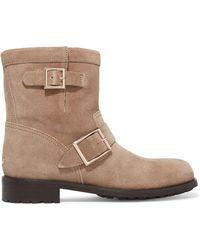Jimmy Choo - Buckled Textured-nubuck Boots - Lyst