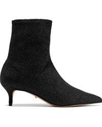 Schutz - Albertin Metallic Knitted Sock Boots Black - Lyst