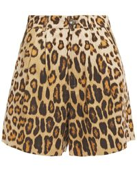 Etro Pleated Leopard-print Silk And Cotton-blend Ottoman Shorts Animal Print - Brown