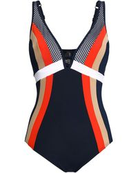Jets by Jessika Allen Ultraluxe Plunged Mesh-paneled Color-block Underwired Swimsuit Navy - Blue