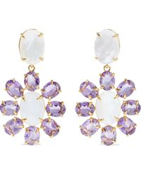 Bounkit 14-karat Gold-plated, Mother-of-pearl And Amethyst Earrings - Purple