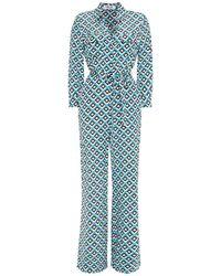 Diane von Furstenberg Belted Printed Silk Crepe De Chine Jumpsuit - Blue