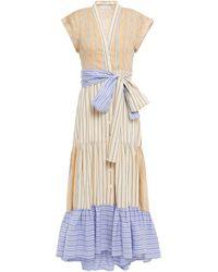 Sandro Rosanda Paneled Striped Linen-blend Midi Dress - Natural