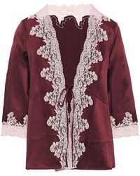 Myla Grosvenor Square Lace-trimmed Silk-blend Satin Pyjama Top Plum - Purple