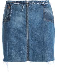 Levi's - Woman Patchwork Distressed Denim Mini Skirt Dark Denim - Lyst