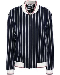 Thom Browne - Embroidered Striped Twill Bomber Jacket Navy - Lyst
