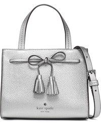 Kate Spade Bow-embellished Metallic Pebbled-leather Shoulder Bag Silver