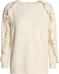 Madeleine Thompson - Thilia Ruffle-trimmed Wool And Cashmere-blend Jumper - Lyst