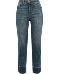 DL1961 Distressed High-rise Straight-leg Jeans Mid Denim - Blue