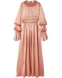 ROKSANDA - Zoya Ruched Silk-satin Maxi Dress Antique Rose - Lyst