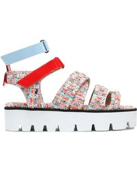 MSGM - Patent Leather And Tweed Platform Sandals - Lyst
