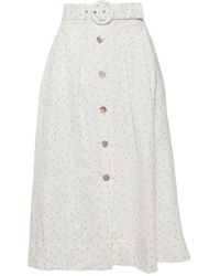 Rebecca Vallance Holliday Polka Dot Linen-blend A-line Skirt - White