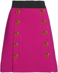 Dolce & Gabbana - Wrap-effect Button-detailed Stretch-wool Mini Skirt - Lyst