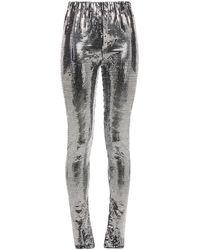 MM6 by Maison Martin Margiela Embellished Jersey leggings - Metallic