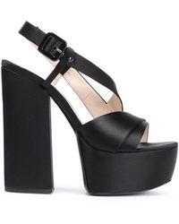 Roberto Cavalli Pleated Satin Platform Slingback Sandals Black