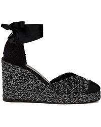 Castaner Castañer Coco Metallic Tweed Wedge Espadrilles - Black