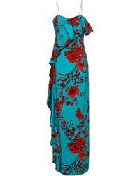 Sachin & Babi - Putri Floral-print Stretch-crepe Maxi Dress Teal - Lyst