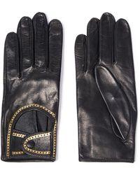 Zimmermann Metallic Printed Leather Gloves Black