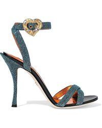 Dolce & Gabbana Keira Buckle-detailed Lurex Sandals Teal - Blue