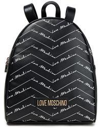 Love Moschino Rucksack aus bedrucktem leder - Schwarz