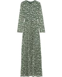 Mikael Aghal Pleated Floral-print Crepe De Chine Maxi Dress Leaf Green