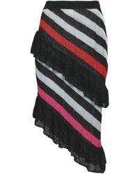 Marco De Vincenzo - Woman Metallic Striped Pointelle-knit Skirt Black - Lyst