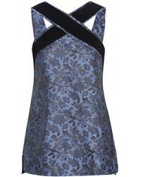 Erdem Orla Crossover Grosgrain-trimmed Floral-jacquard Top Slate Blue